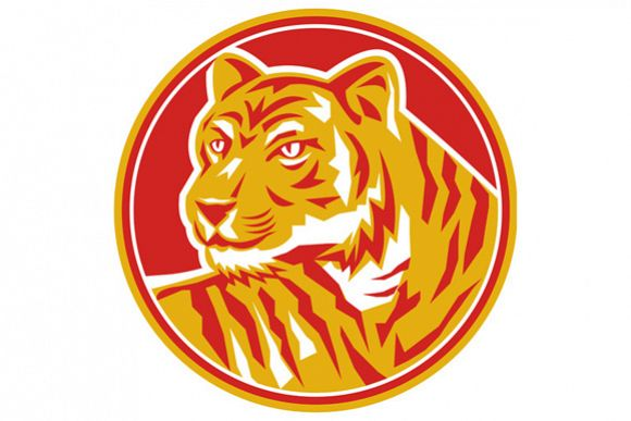 Tiger Prowling Head Circle Retro example image 1