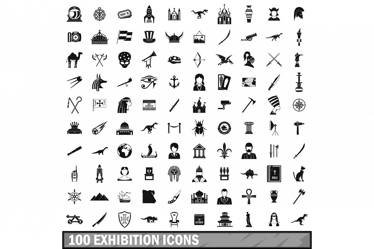 100 exhibition icons set, simple style example image 1