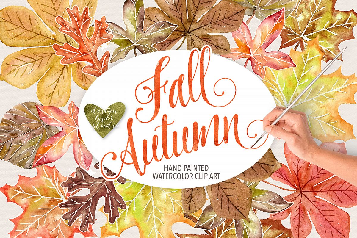 Watercolor Autumn Leaves Fall clip art example image