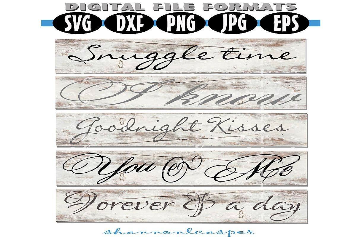 Romantic Wood Sign SVG Bundle example image 1