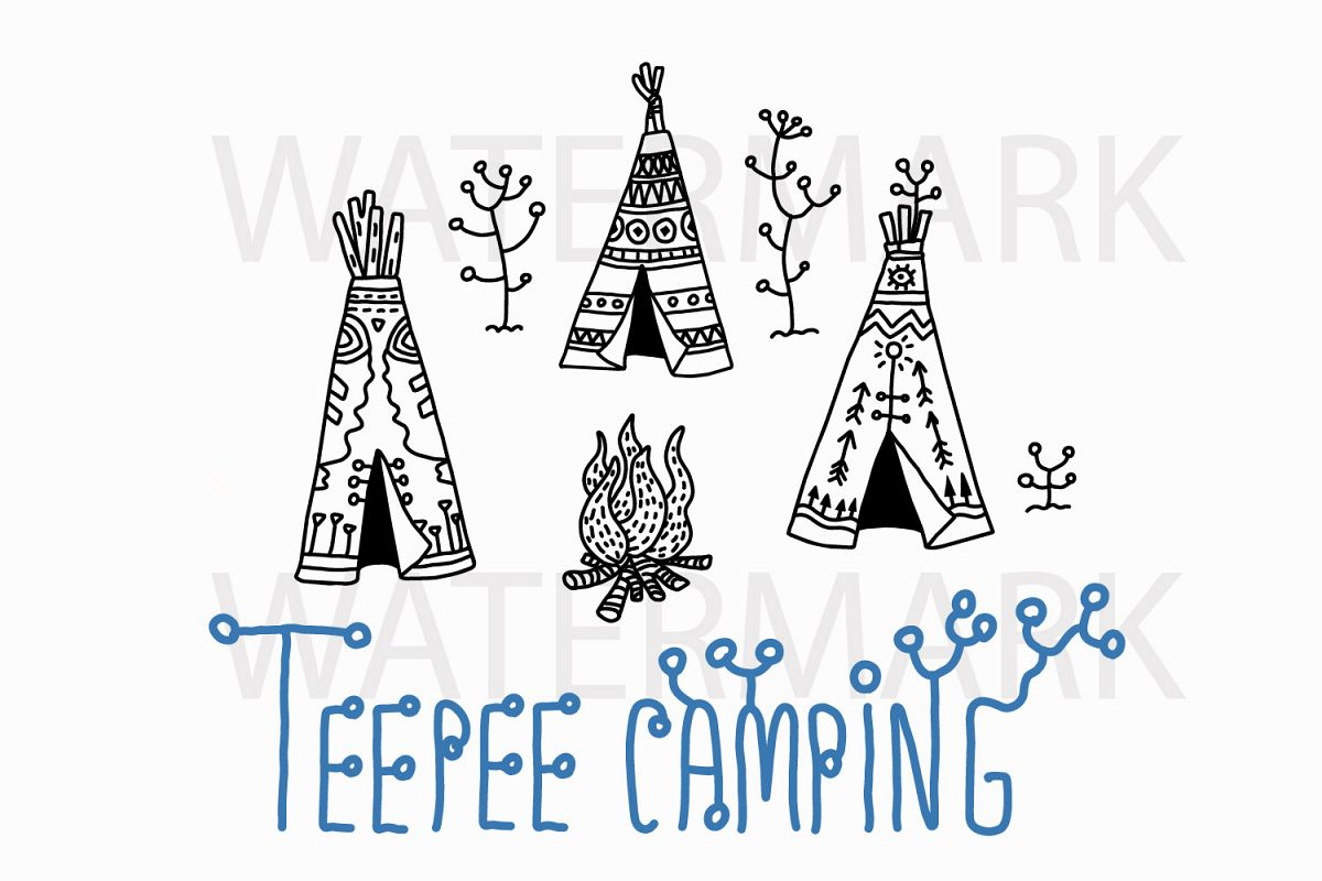 Teepee Camping Ground - SVG/JPG/PNG Hand Drawing example image 1