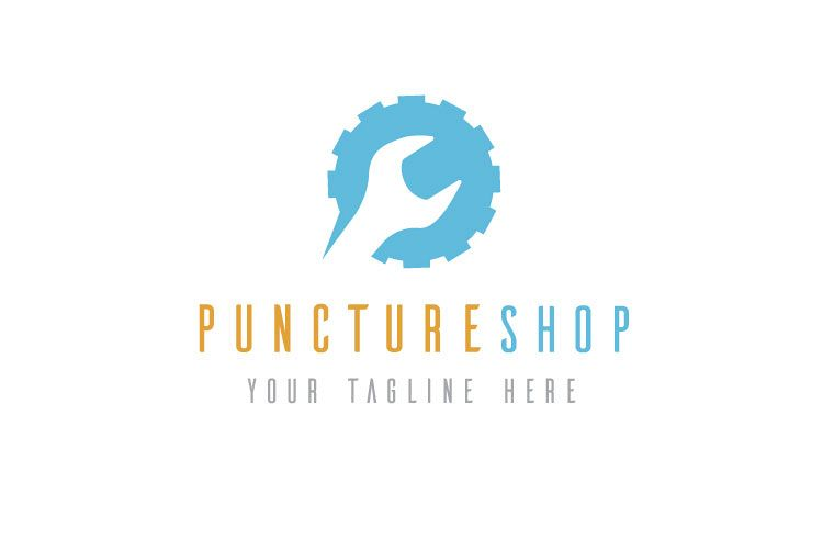 Puncture Mechanic Shop Logo example image 1