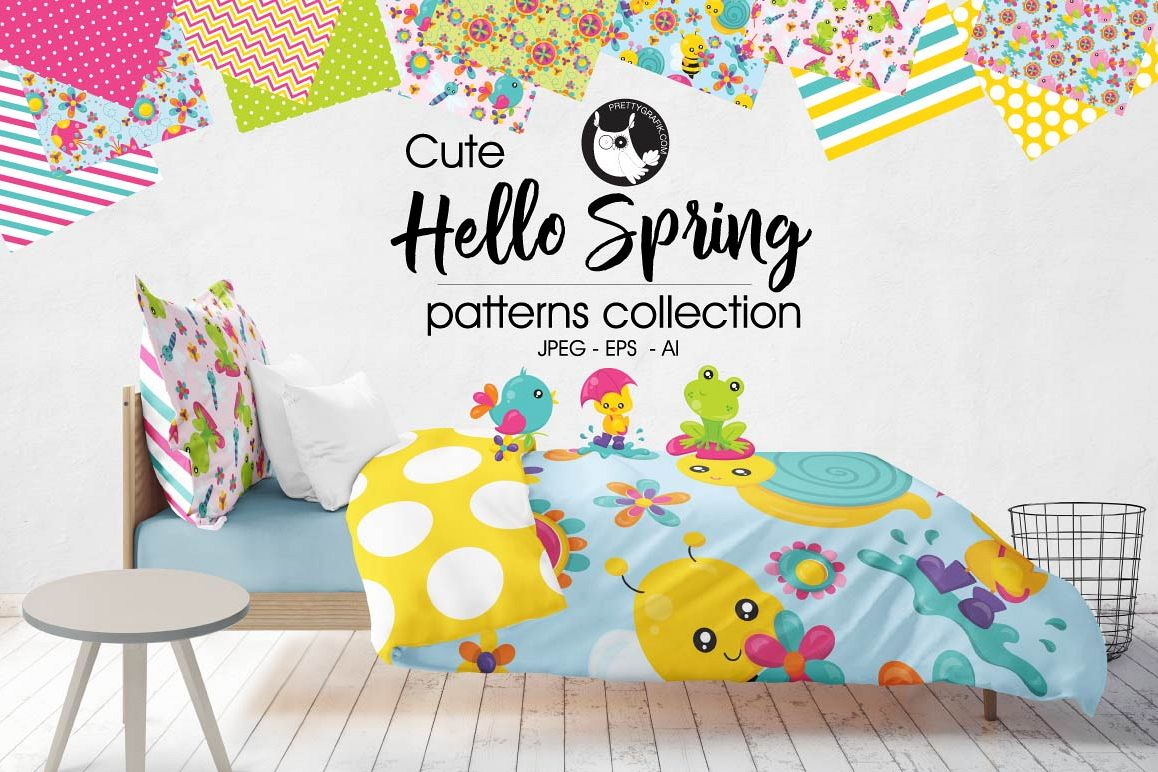 HELLO-SPRING, digital papers example image 1
