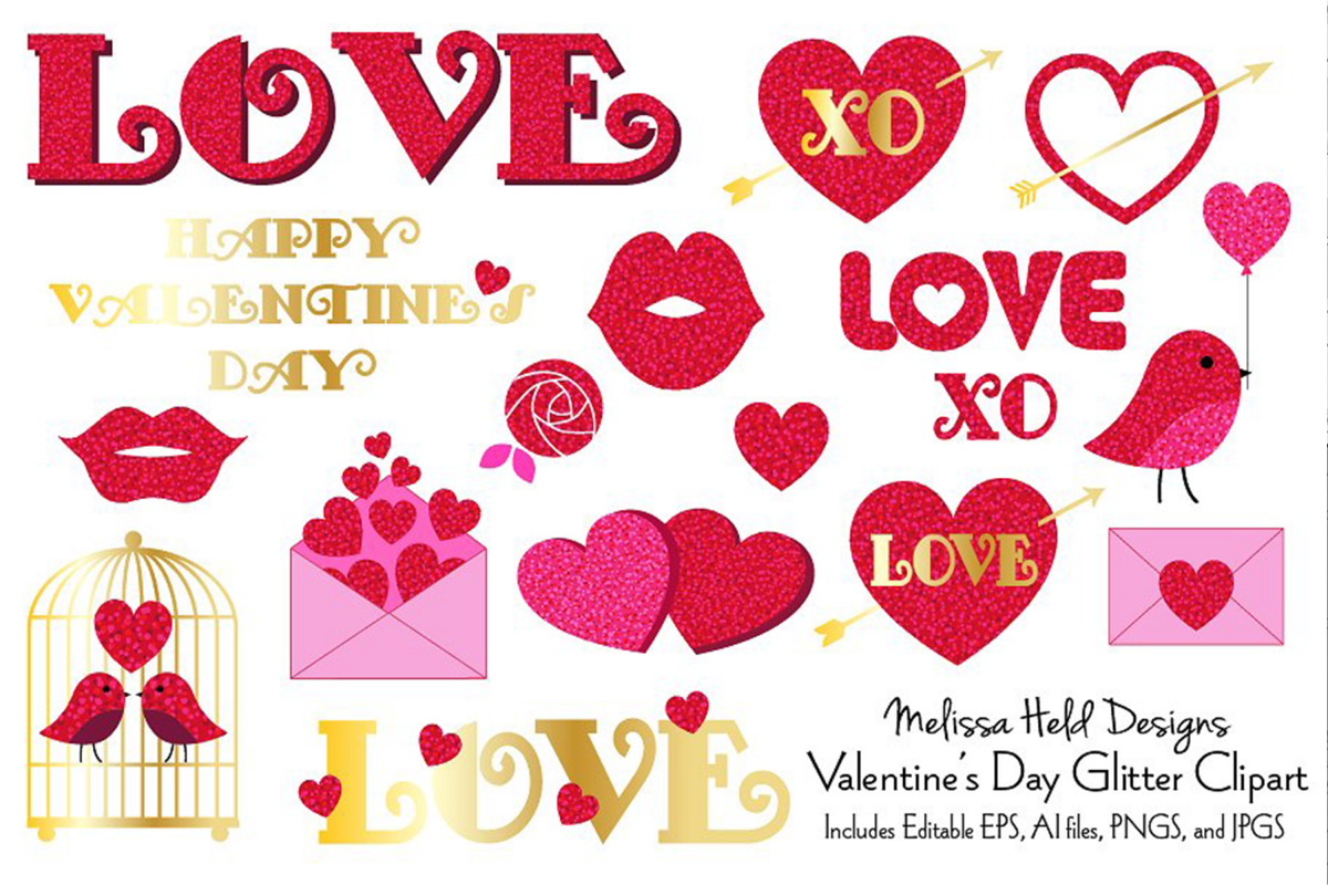 Valentine's Day Glitter Clipart example image 1