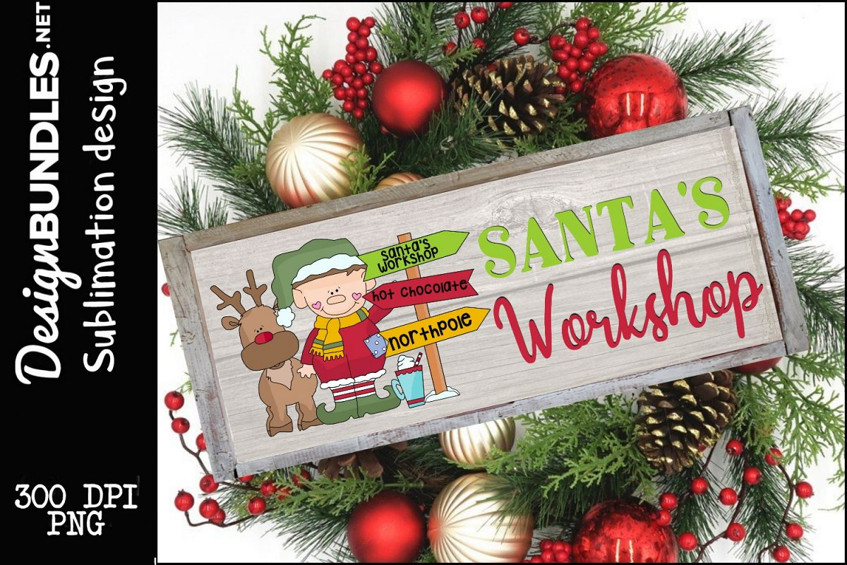 Santas Wokshop Sublimation Design example image 1