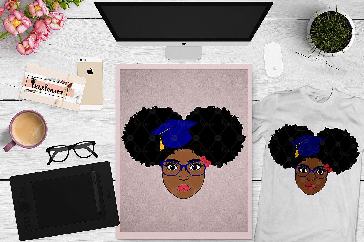 Afro Girl, Afro Puff, Graduation, Glasses, Bow SVG Cut File example image 1