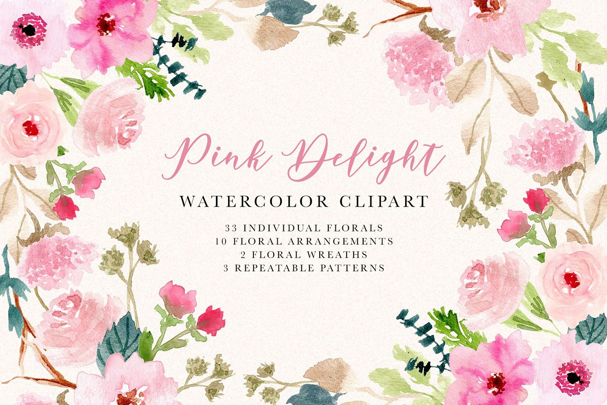 Pink Delight - Watercolor Floral Clipart example image 1
