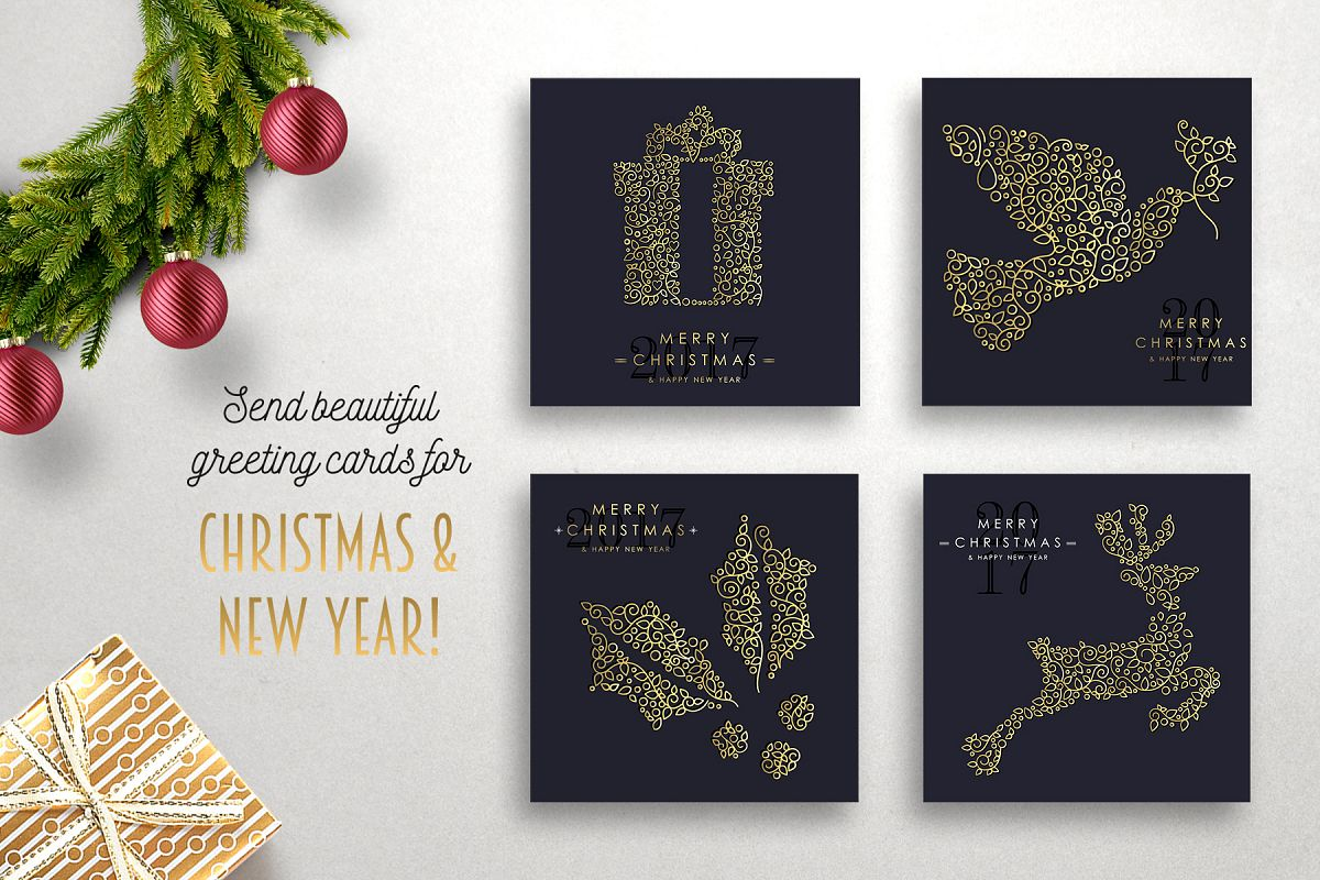 Christmas Gold Line Art Set example image 1