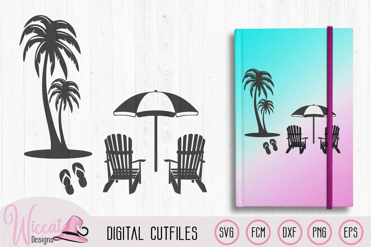 Beach scene with palm trees, flip flops and chairs example image 1