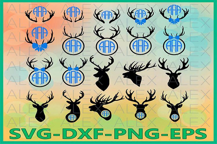 Deer Head Monogram SVG, Deer Monogram Svg, Deer png example image 1