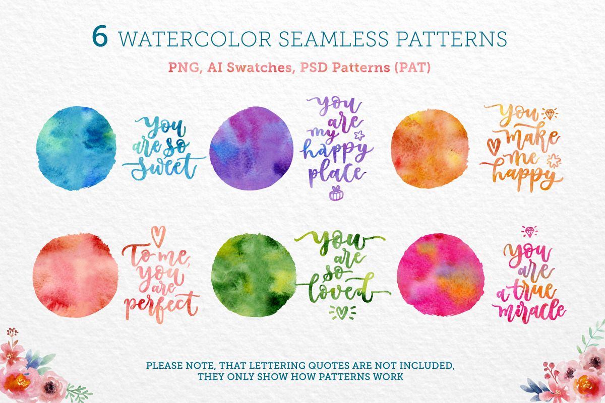 Bright Watercolor Patterns example image 1