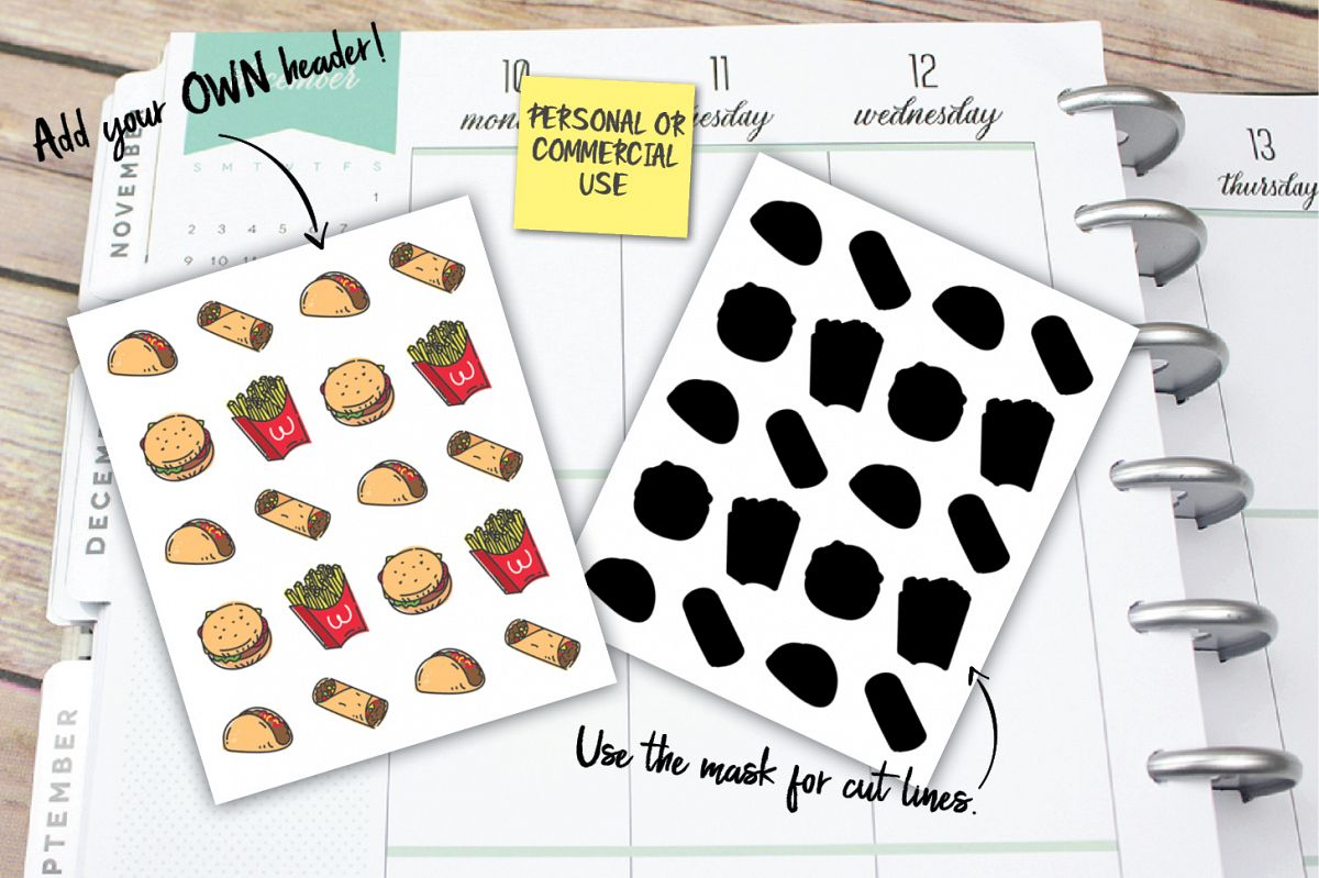 Fast Food Planner Stickers example image 1