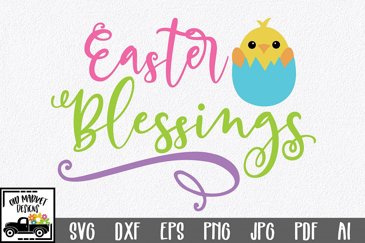 Easter SVG Cut File - Easter Blessings SVG DXF EPS PNG AI example image 1