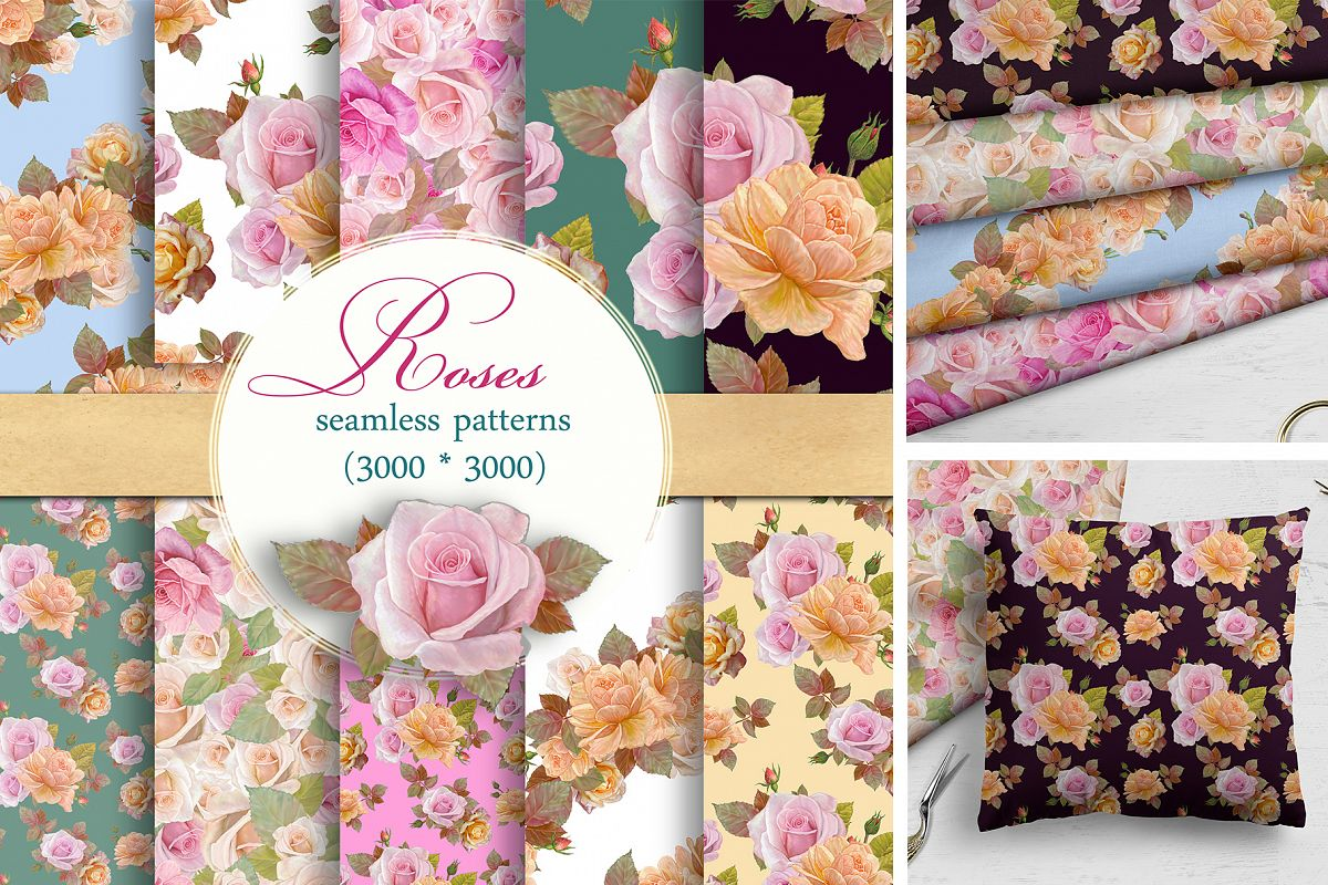 Roses Pattern, Seamless,Floral Digital Paper example image 1