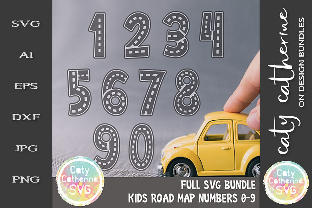 Road Map Kids Birthday Number Bundle SVG Cut File example image 1