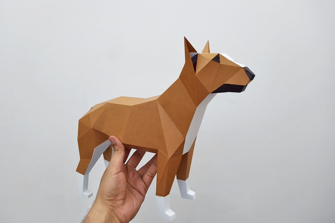 DIY Papercraft Bull Terrier model, papercraft dog sculpture example image 1