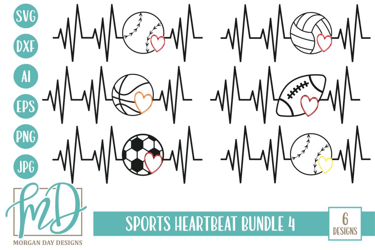 Sports Heartbeat Bundle 4 SVG, DXF, AI, EPS, PNG, JPEG example image 1