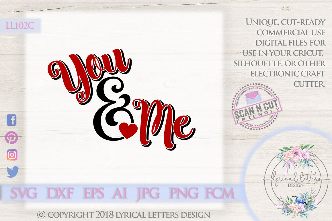 You & Me Ampersand Valentine's Day SVG DXF Cut File LL102C example image 1