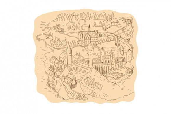 Medieval Fantasy Map Drawing example image 1