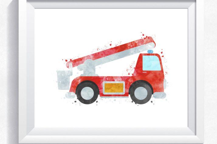 picture regarding Fire Truck Printable identify Watercolor hearth truck, hearth motor printable