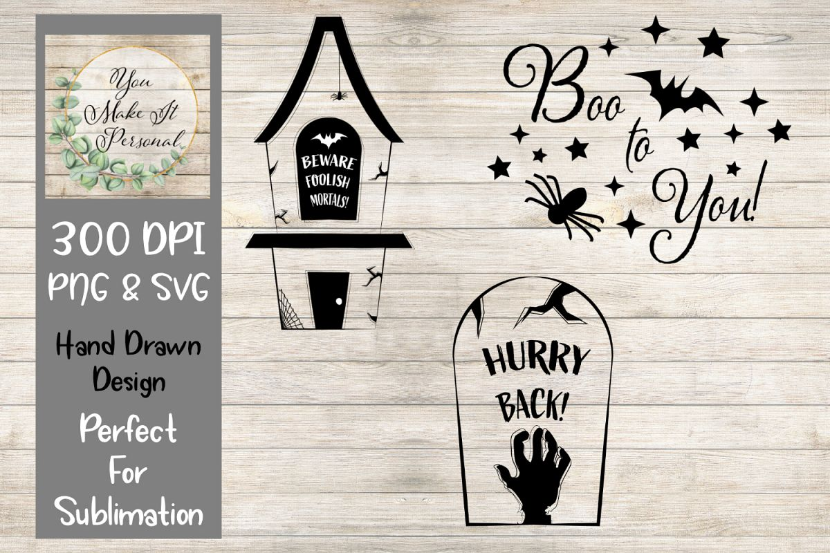Set of 3, Halloween Designs, PNG and SVG example image 1