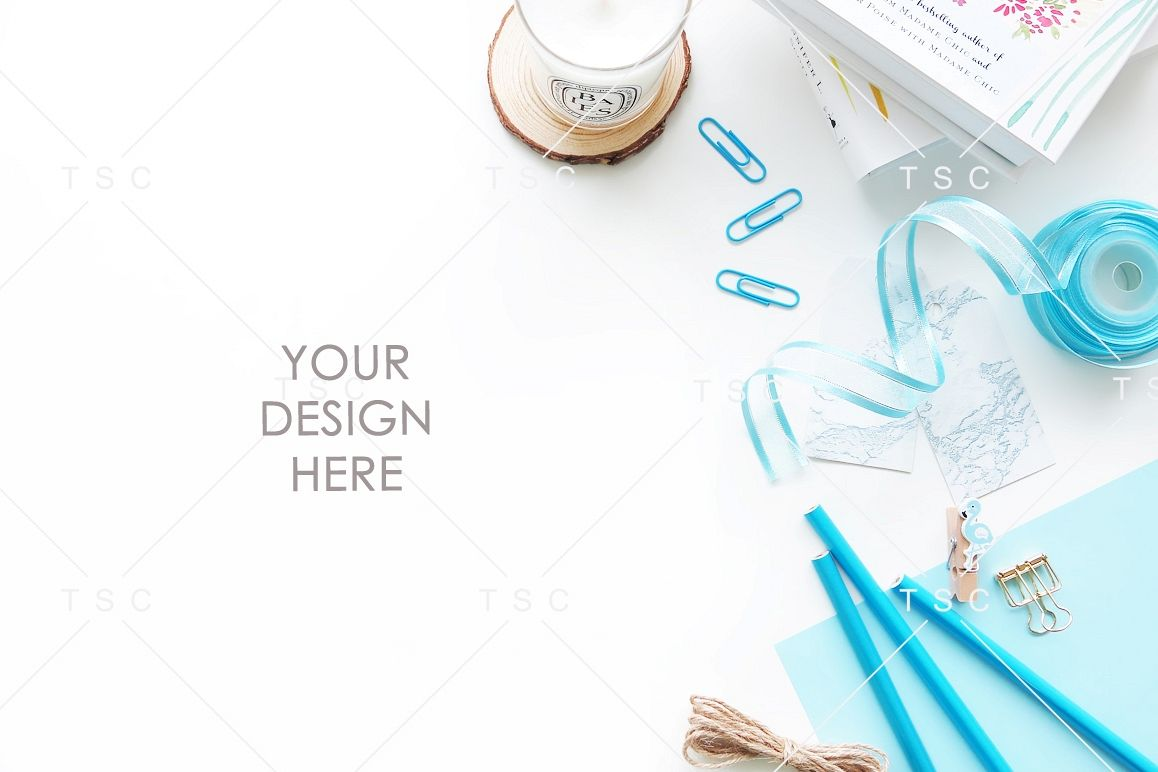 Blue-themed Office Desk Styled Stock Photo example image 1