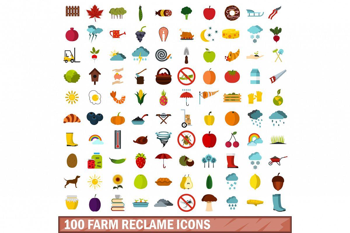 100 farm reclame icons set, flat style example image 1