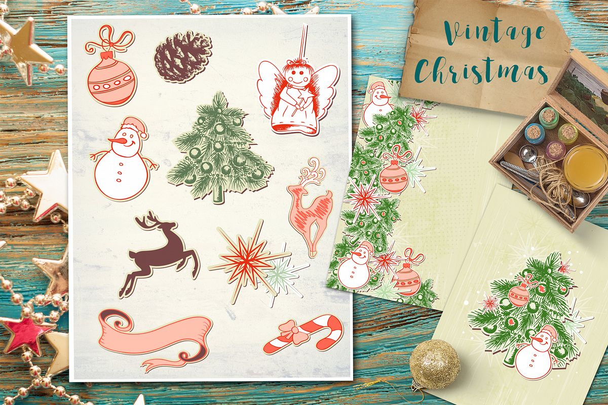 Vintage Christmas Design Elements example image 1
