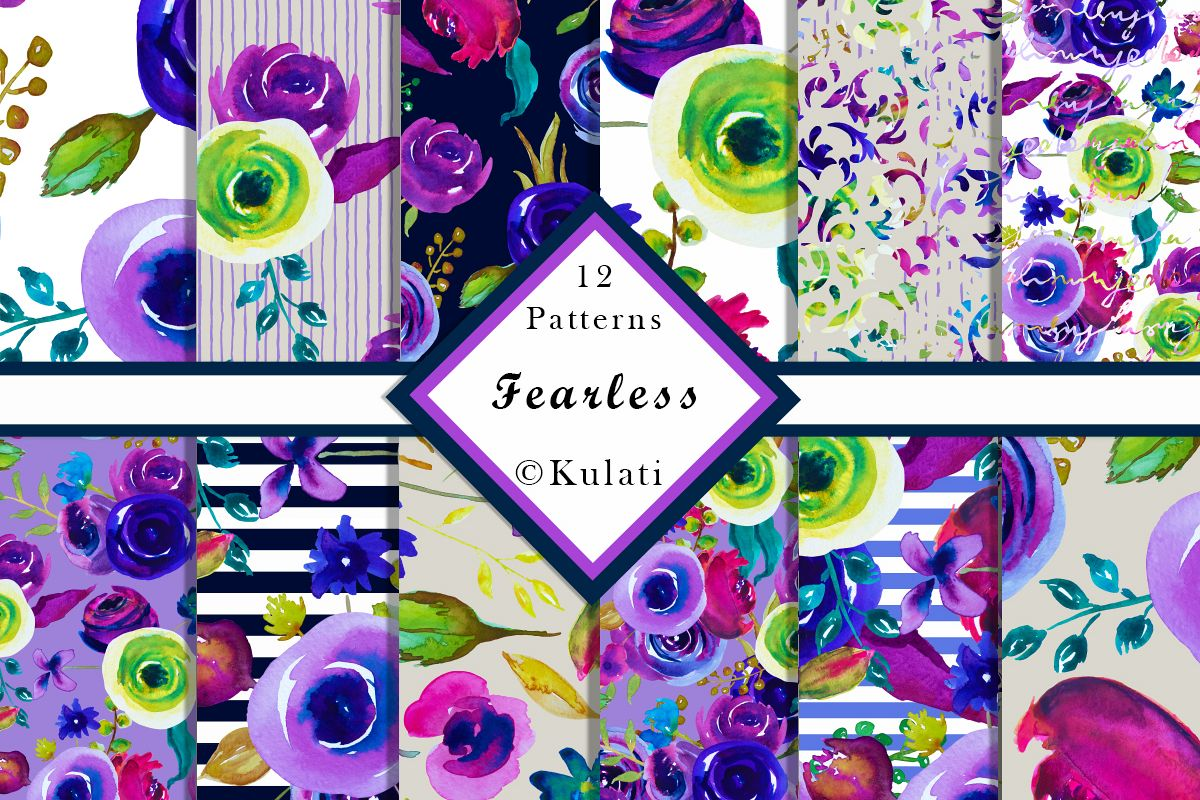 Watercolor Floral Seamless Patterns example image 1