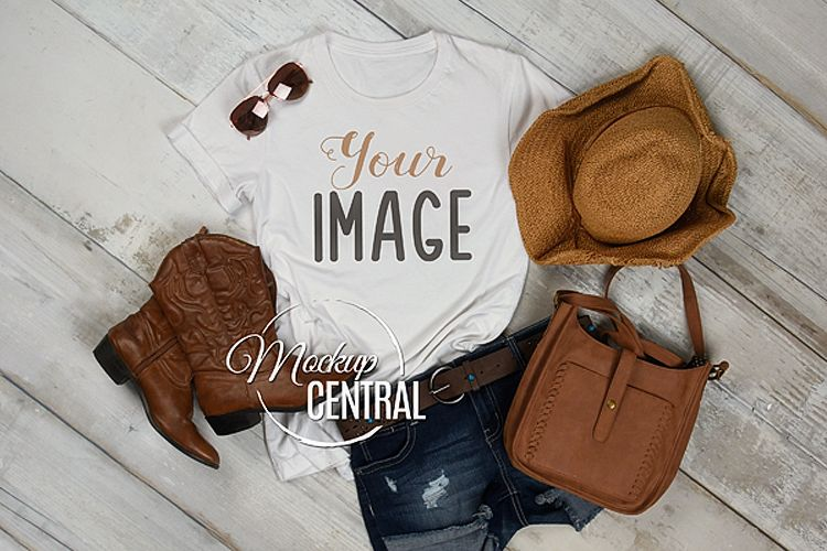 Women's Blank Country Western Rustic T-Shirt JPG Mockup example image 1