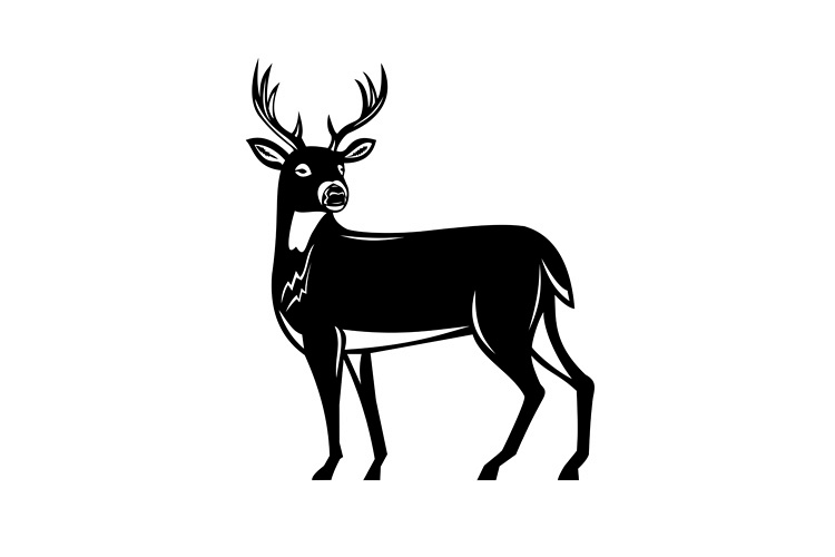 Whitetail Deer Side View Woodcut example image 1