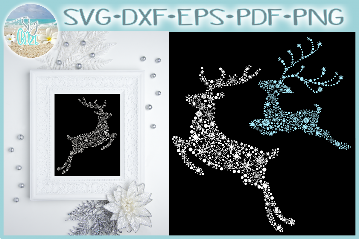 Snowflake Reindeer SVG Dxf Eps Png Pdf Files For Cricut example image 1