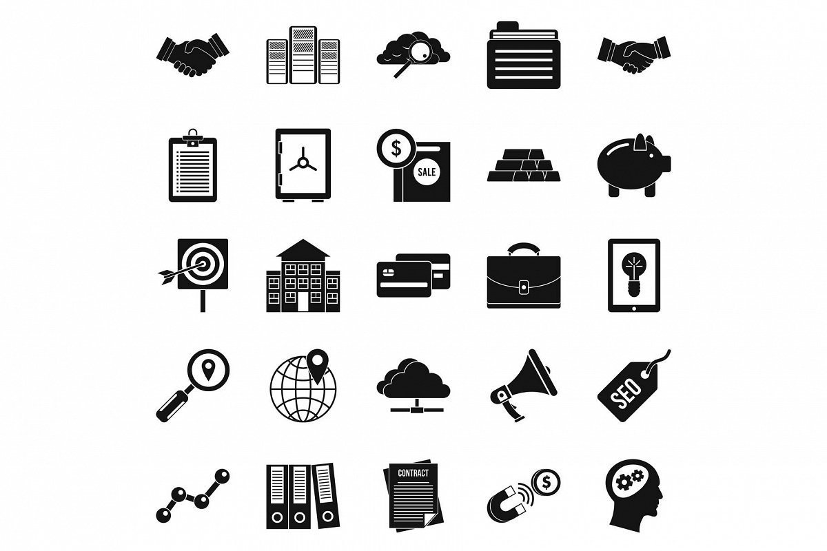 Stockjobber icons set, simple style example image 1