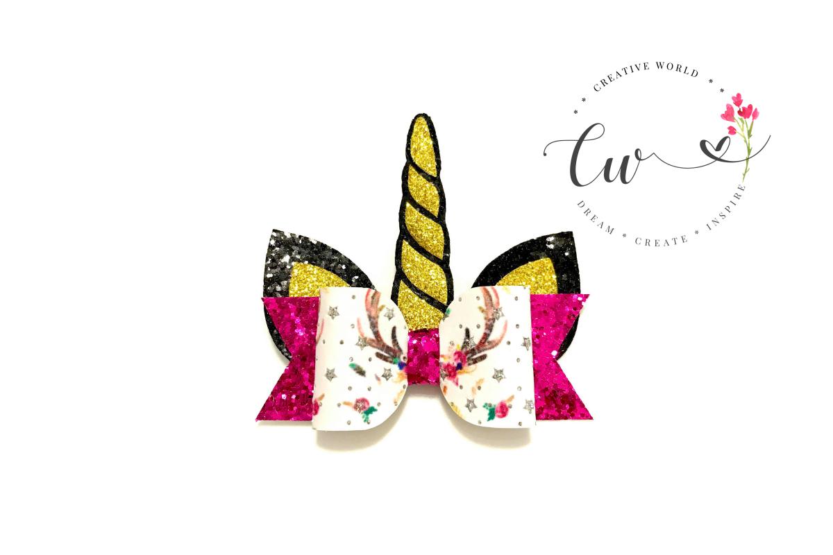 Unicorn Hair Bow Digital Template |Unicorn Hair Bow Template example image 1