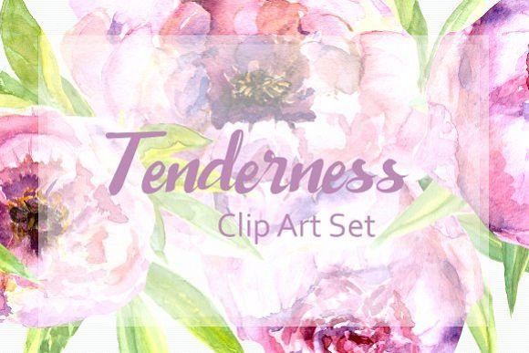 Watercolor Peonies Clip Art Set example image 1