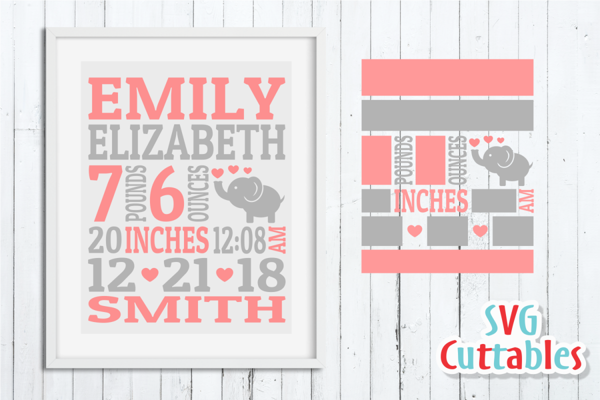 Baby Birth Announcement Template, SVG Cut File example image 1