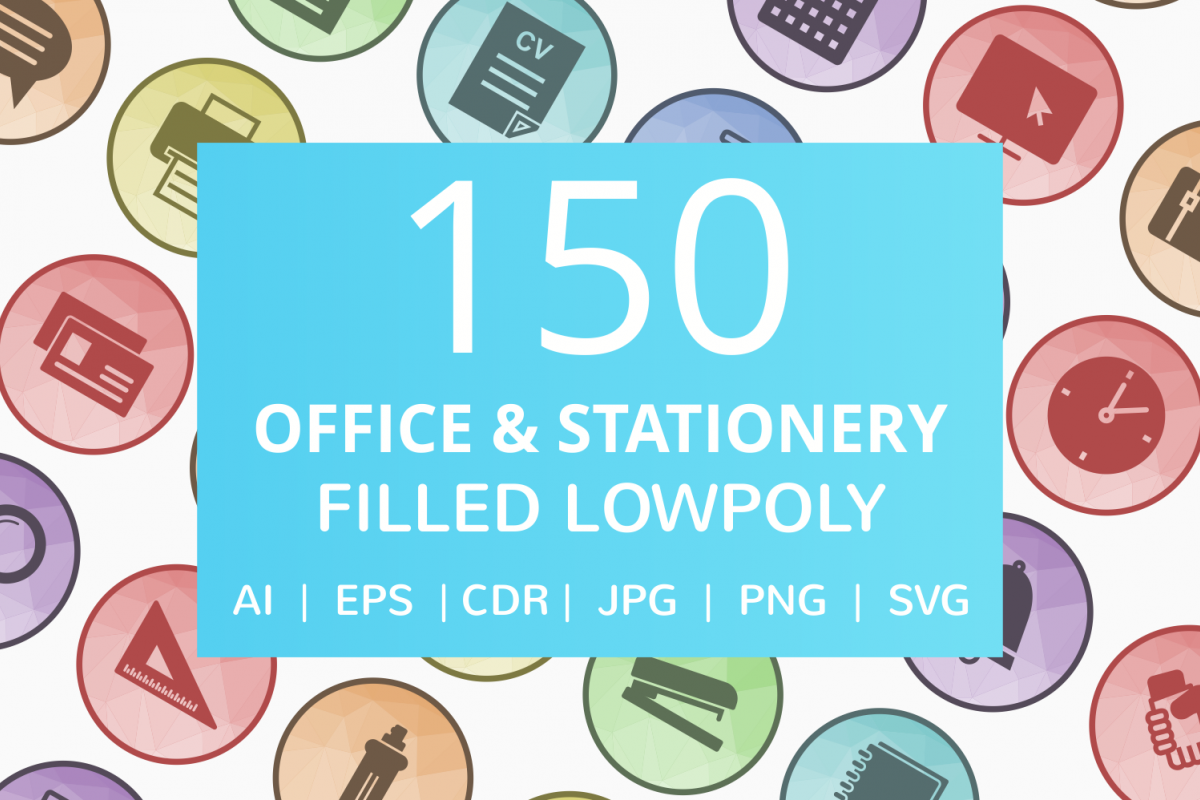 150 Office & Stationery Filled Low Poly Icons example image 1