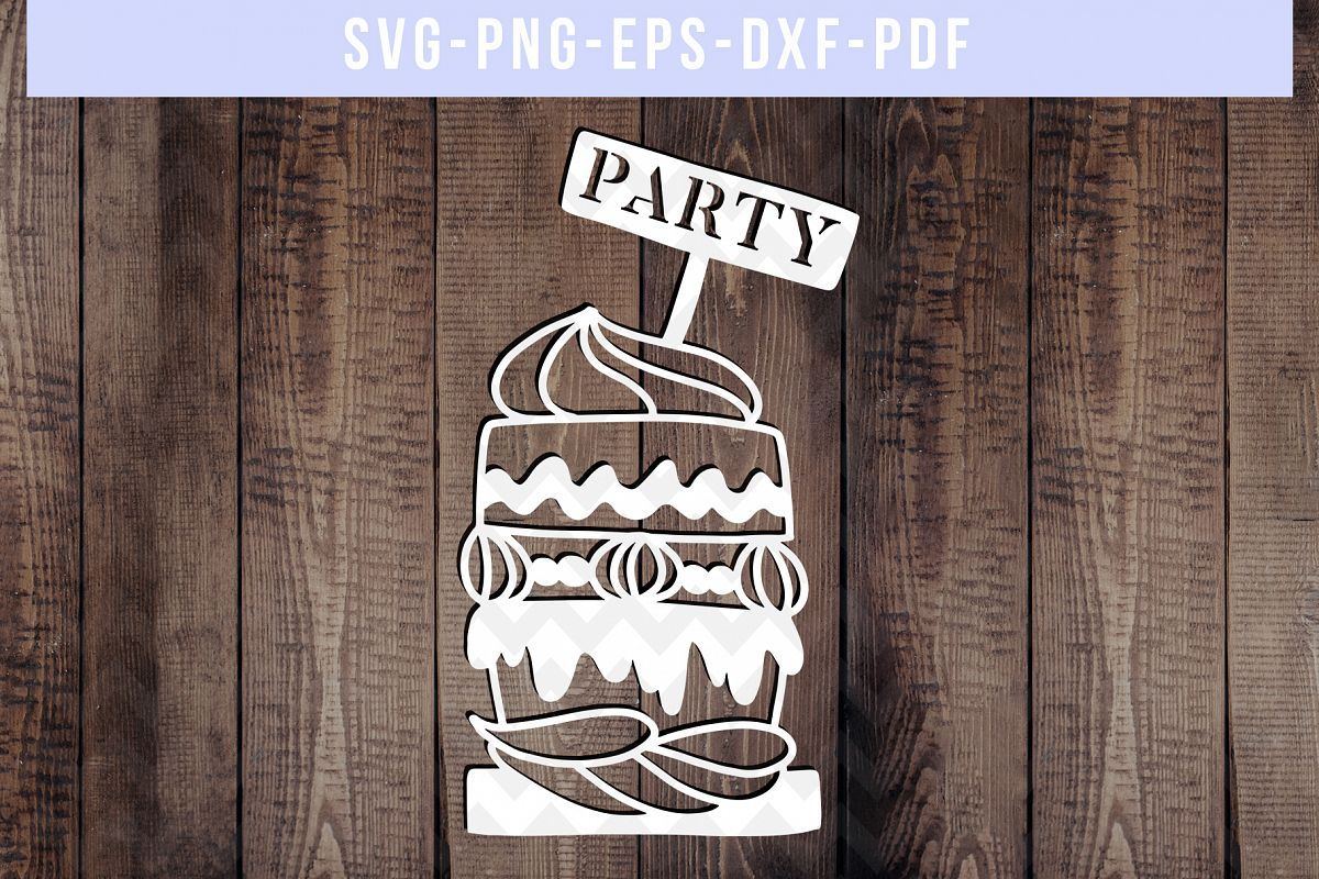 Cake Papercut Template, Birthday Party Invitation SVG, PDF example image 1