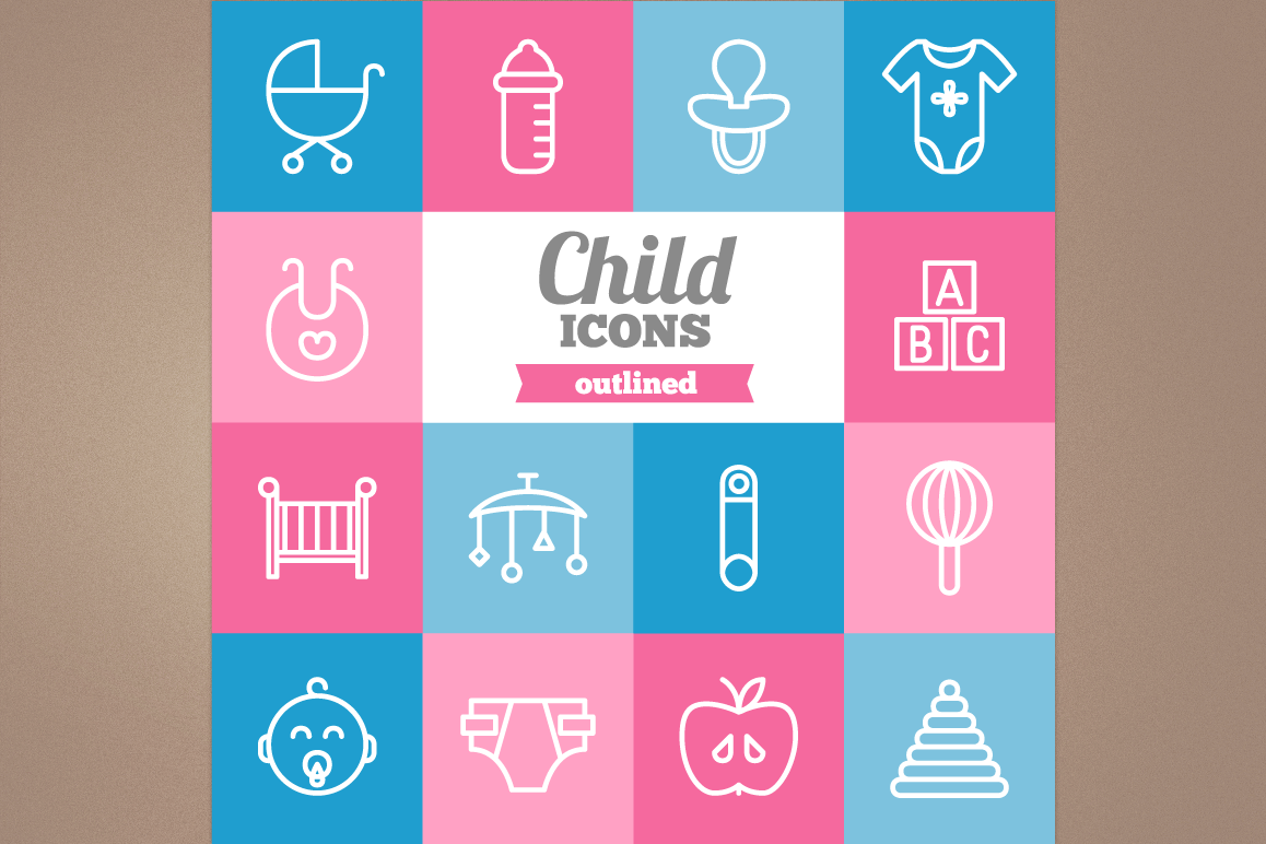 Outlined Child Icons example image 1
