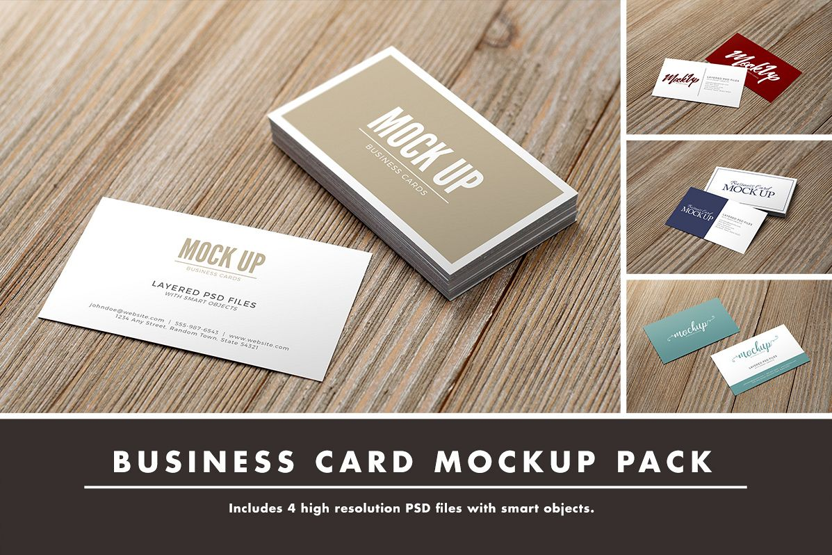 Business Card on Wood Mockup Pack example image 1