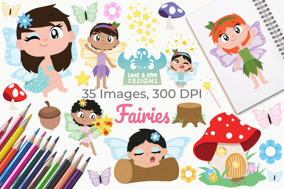 Fairies Clipart, Instant Download Vector Art, Commercial Use example image 1
