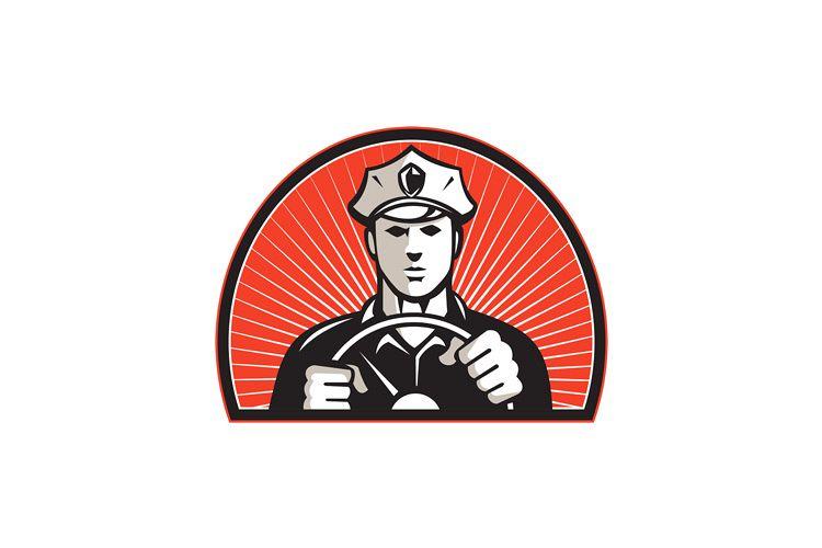 Policeman Driver Driving Steering Wheel example image 1