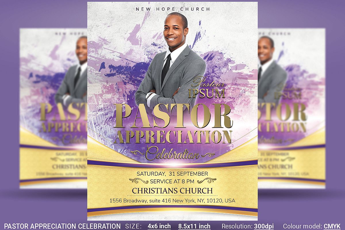 Pastor Appreciation Celebration Church Flyer example image 1
