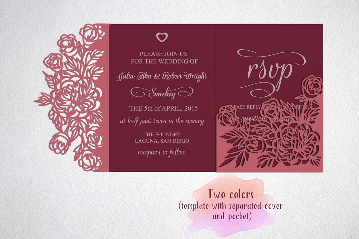 Wedding Invitation Card Sample: Tri Fold Wedding Invitation Card Template Laser Cut Sxg Dxf