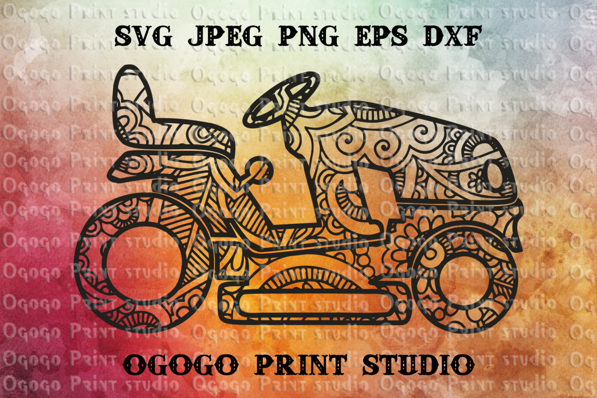 Riding Mower Svg, Zentangle SVG, Mandala svg,Fathers Day Svg example image 1