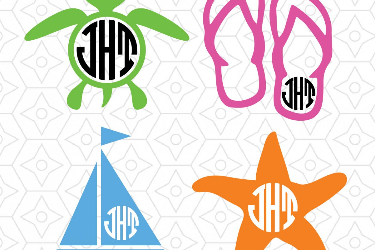 02566ee099b3 Beach Monogram Frame Decal Collection