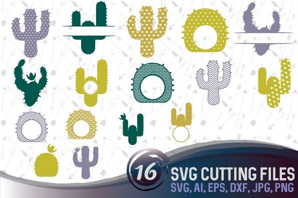 16 Cactus Monograms Bundle SVG, DXF, JPG, PNG, DWG, AI, EPS example image 1