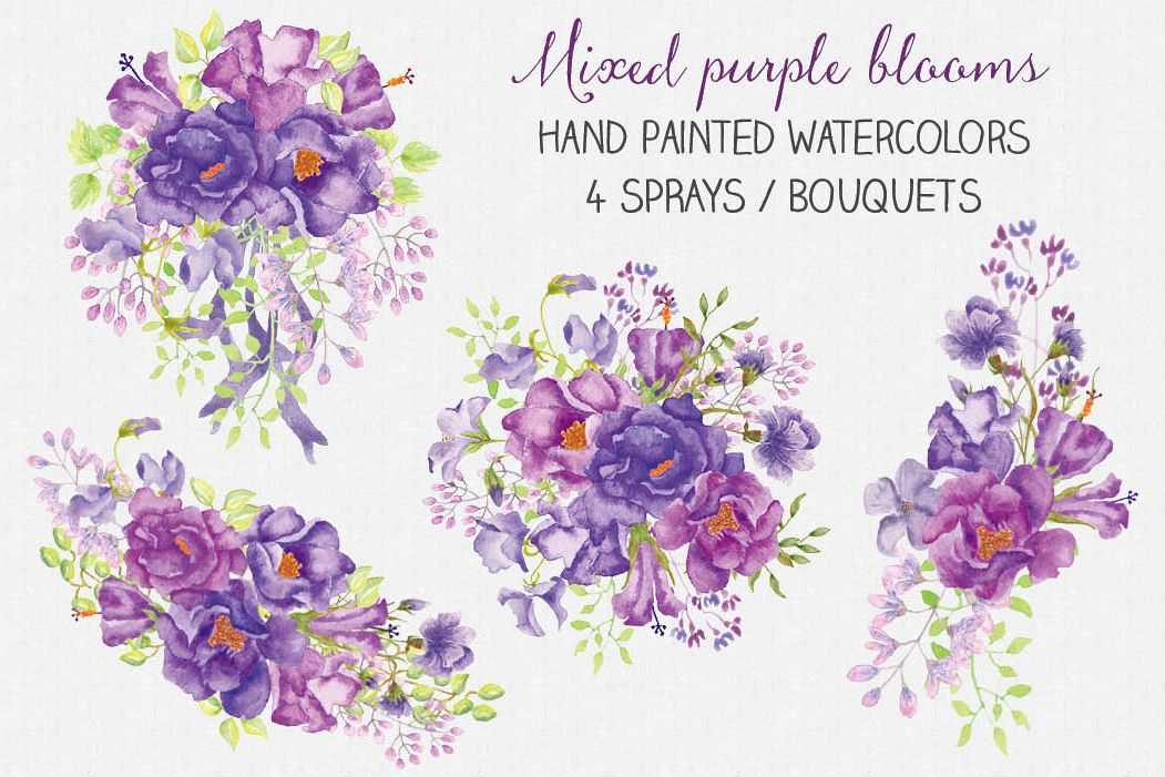 Purple floral sprays in watercolors example image 1