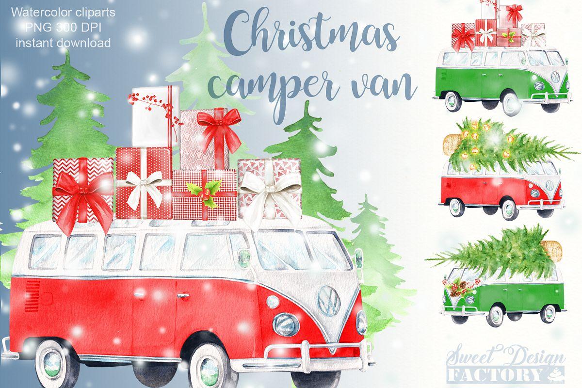 Christmas retro van cliparts. example image 1