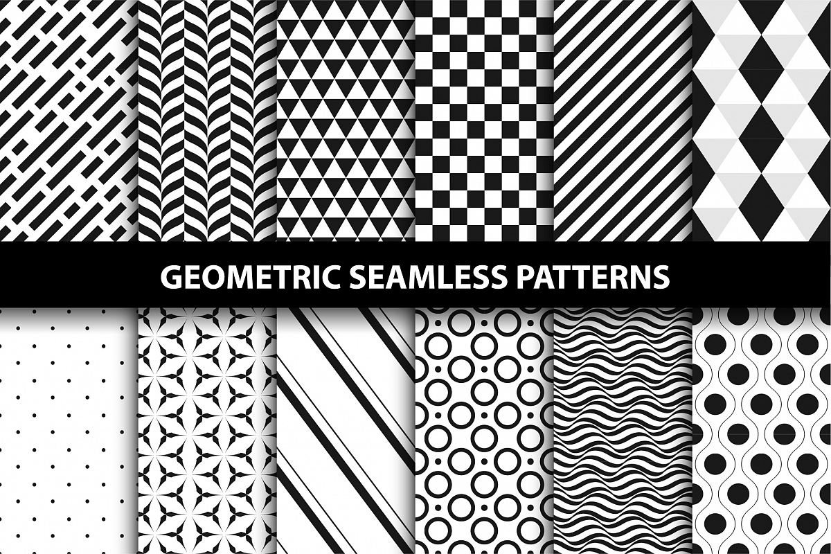 Geometric seamless patterns. B&W. example image 1